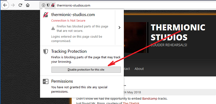 Disabling Tracking Protection on a Site-by-Site Basis
