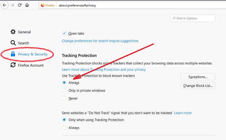 Changing Tracking Protection Settings