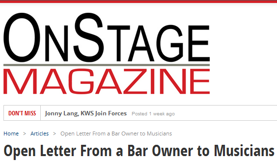 OnStageMagazine Posts Craigslist Rant By Club Bar Owner